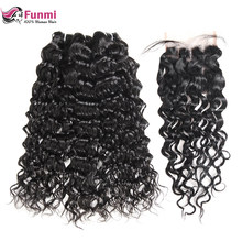 Funmi Water Wave Bundles With Closure 3Pcs Peruvian Hair Bundles With Closure 100% Virgin Hair Bundles With Closure 4X4 Inch(China)