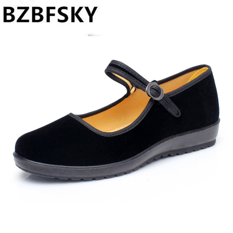 Classic Old Beijing Cloth Shoes Women Flats Soft Comfortable Mother Shoes Black Mary Janes Non-slip Sole Cotton Breathable vintage women flats old beijing mary jane casual flower embroidered cloth soft canvas dance ballet shoes woman zapatos de mujer