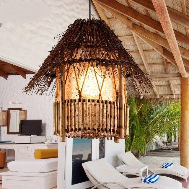 Beleuchtung Balkon bambus rattan pendelleuchten südost restaurant beleuchtung kreative
