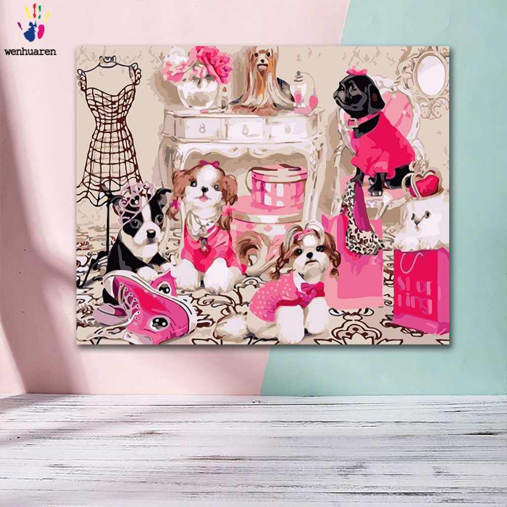 DIY Coloring paint by numbers Fashionable luxury party for ladies and dogs paintings by numbers with kits 40x50 framed