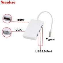 "5 في 1 USB من النوع C إلى 4K * 2K HDMI 1080P VGA USB محول Thunderbolt 3 منفذ متوافق USB 3.0 محول لماك بوك برو 12 ""13"" 15"
