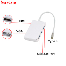 "5 En 1 USB tipo C a 4K * 2K HDMI 1080P VGA adaptador USB Puerto Thunderbolt 3 Compatible con convertidor USB 3,0 para Macbook Pro 12 ""13"" 15"""
