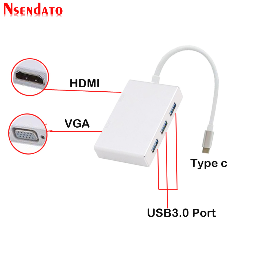 5 In 1 USB-Type C To 4K*2K HDMI 1080P VGA USB Adapter Thunderbolt 3 Port Compatible USB 3.0 Converter For Macbook Pro 12