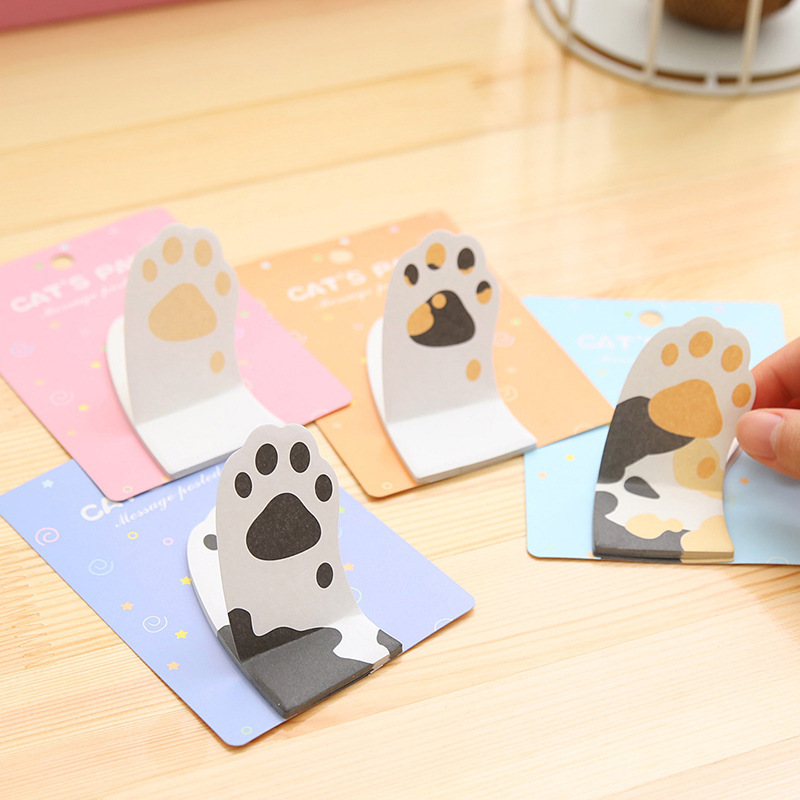 Free Shipping Cute Kawaii Cartoon Post It Note Paper Stickers Creative Cat Claw Memo Pad For Kids School Supplies Novelty Pad