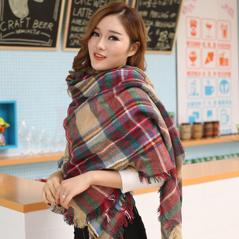 Hot Women Blanket Oversized font b Tartan b font Scarf Wrap Shawl Plaid Cozy Checked Pashmina