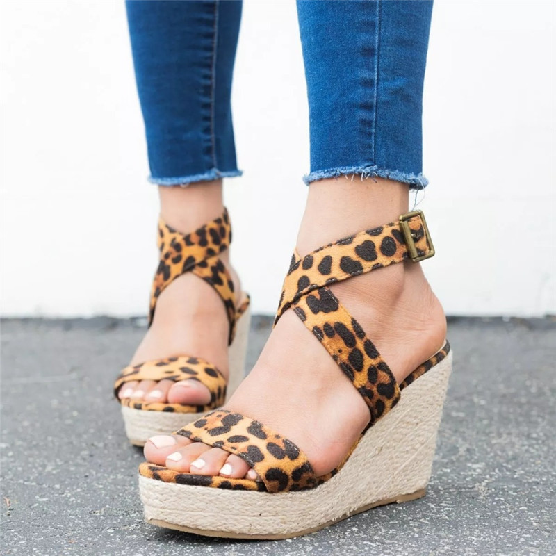 Leopard Wedge Sandals Summer Peep Toe Flock Buckle Strap Women Platform Espadrilles Sandal Plus Size 43 High Heels Shoes Female  (3)