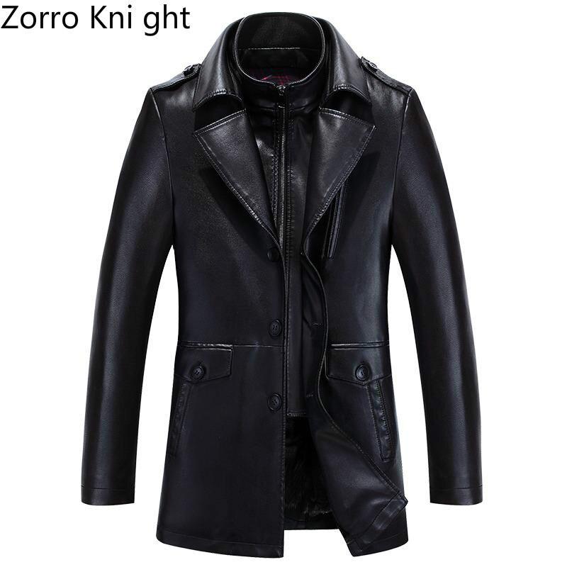 2018 Spring M-3XL Brand Suede Leather Jacket Men Blazer Slim Casual Coat Men Suits Casacos Black Mens Leather Jackets
