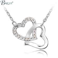 2017 New Fashion Crystal From Swarovski Necklace Double heart shape Classic pendants women Wedding jewelry Wholesale(China)