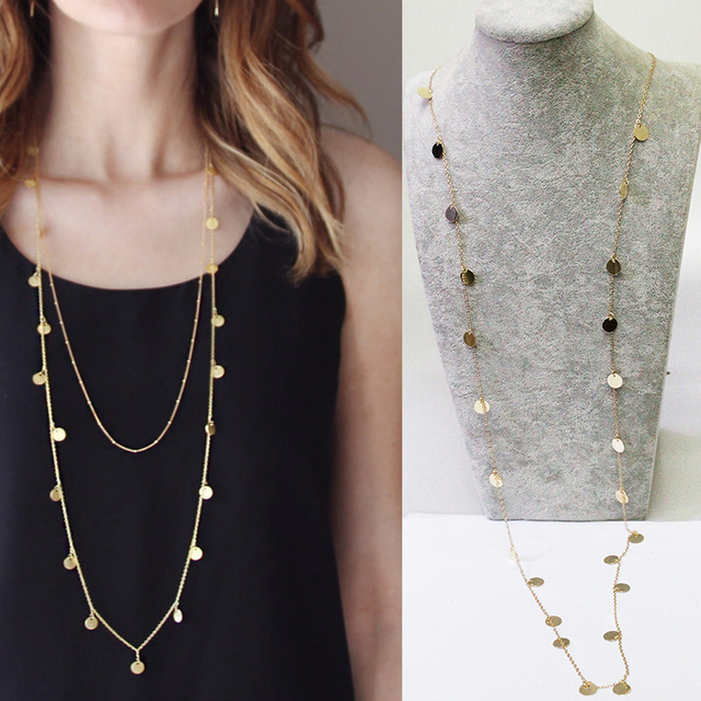 120CM Long Gold Coin Necklace | Long Gold Necklace Statement necklace XL540