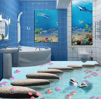 [Self Adhesive] 3D Dolphins Stone Sea 3 Non slip Waterproof Photo Self Adhesive Floor Mural Sticker WallPaper Mural Print Decal