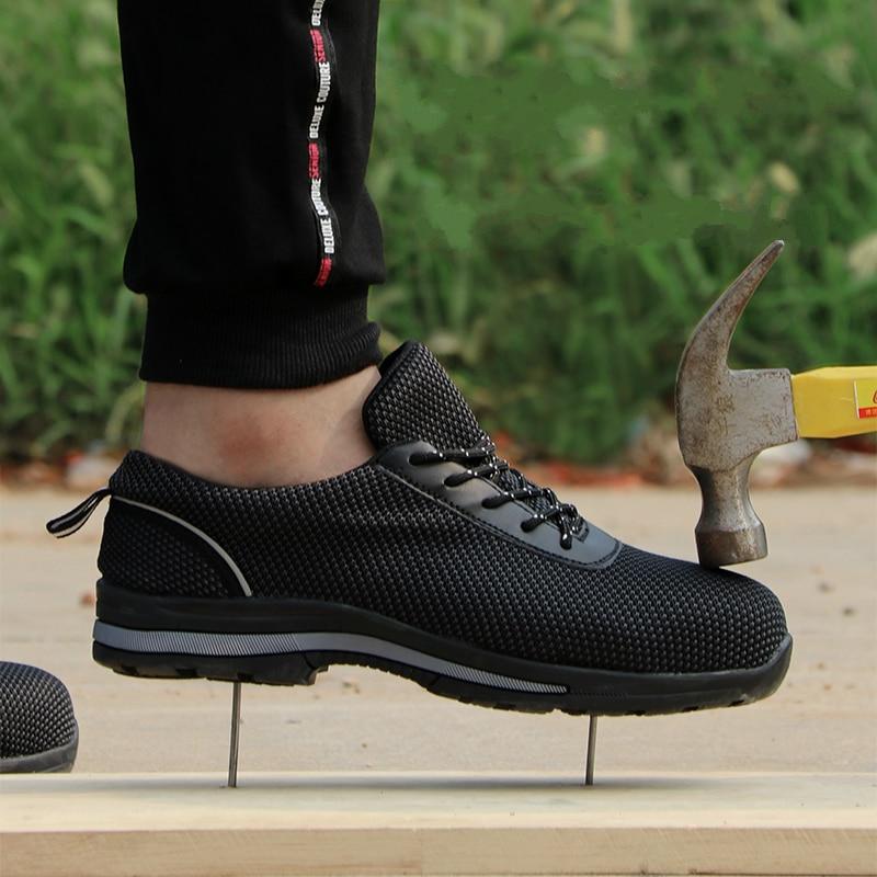 كبير حجم الرجال الفاخرة الأزياء تنفس مقدمة حذاء من المعدن حذاء امن للعمل الأسود بناء الموقع عامل الأمن الأدوات الأحذية الذكور-في أحذية العمل والسلامة من أحذية على  مجموعة 1