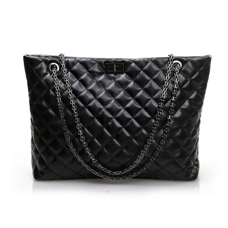 Vintage Fashion Famous Brand Genuine Leather Shoulder Hand Bags Women Celebrity Diamond Lattice Chain Handbags Classic Black New карабин black diamond black diamond rocklock twistlock