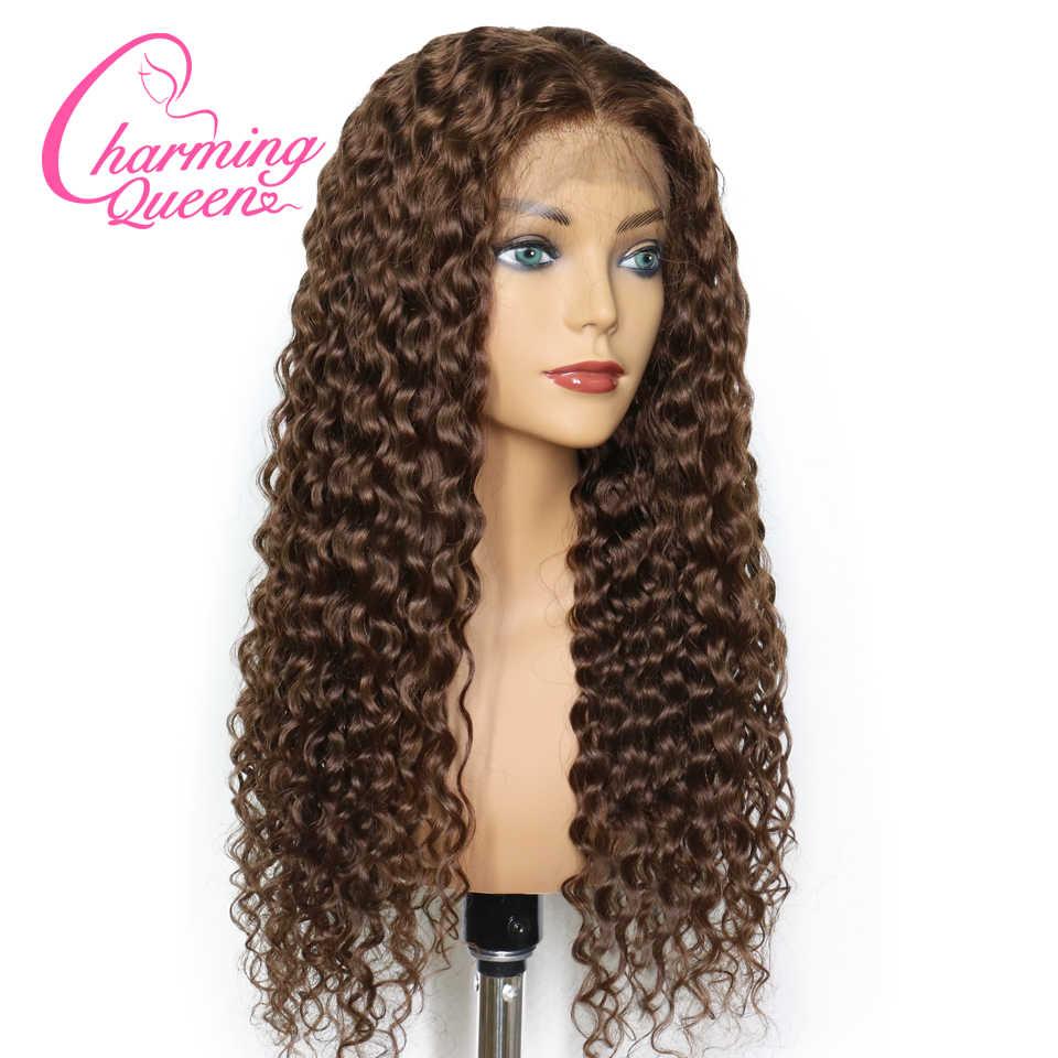 Синтетические волосы на кружеве натуральные волосы парики для черный Для женщин натуральный Цвет #4 предварительно сорвал глубокая волна бразильский Волосы remy парики с волосами младенца