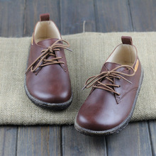 Careaymade-Ingenuity of the first layer leather shoes RETRO art fan Sen female round casual laces