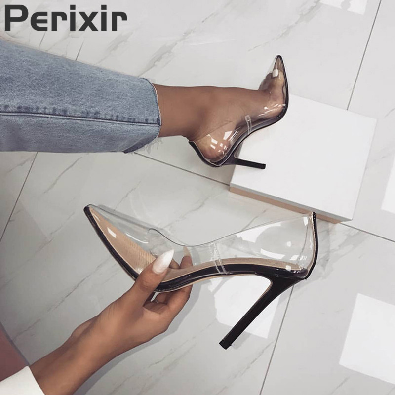 Perixir Hot Summer Shoes Clear PVC Sandals Perspex Heel Stilettos High Heels Point Toes Womens Party Shoes Nightclub Pumps 36-41
