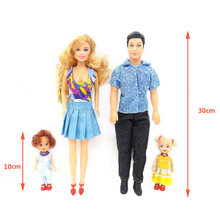 4 Pcs/Lot Happy Dolls Family DIY Mom Dad Doll Fashion Clothing Princes Male Toy Family Character Role Play Gifts For Children(China)