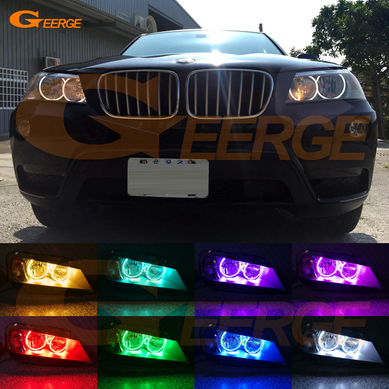 For BMW X3 F25 2010 2011 2012 2013 2014 HALOGEN HEADLIGHT Excellent Multi-Color Ultra bright RGB LED Angel Eyes kit for lifan 620 solano 2008 2009 2010 2012 2013 2014 excellent angel eyes multi color ultra bright rgb led angel eyes kit