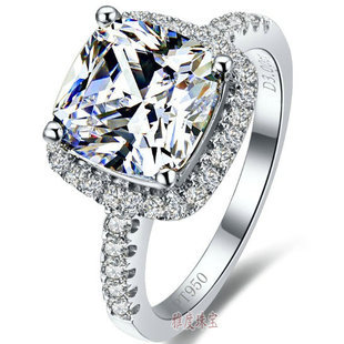 Fine Silver 3 Ct Cushion Cut SONA Simulated Diamond Engagement Rings 14k White Gold Plated Wedding