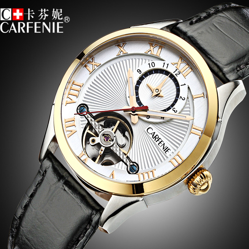 Waterproof Fashion Men Genuine Leather Watch Automatic Mechanical Wristwatches Carfenie Brand Clock Luxury Relogio Masculino