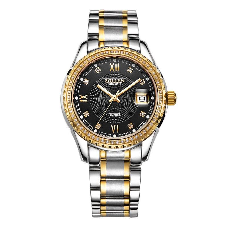 Reloj de pulsera de cuarzo Montre Homme, de marca dorada de lujo, para hombre, relojes impermeables para hombre, reloj de acero inoxidable para negocios - 4