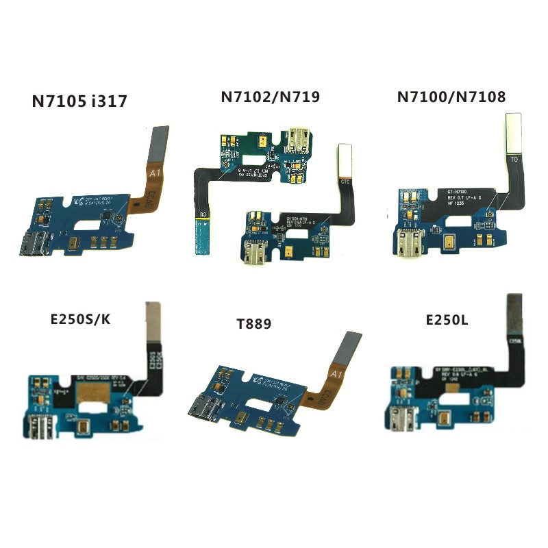 For <font><b>Samsung</b></font> N7105 i317 <font><b>E250S</b></font> K N7102 N719 N7100 N7108 E250L T889 Charging Port Flex Cable Dock Connector Charger Board USB image