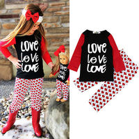 Hot Newborn Toddler Kids Baby Girls Clothes sets Long sleeve T-shirt Love Tops +Long Pants Outfits Sets Clothing Suits
