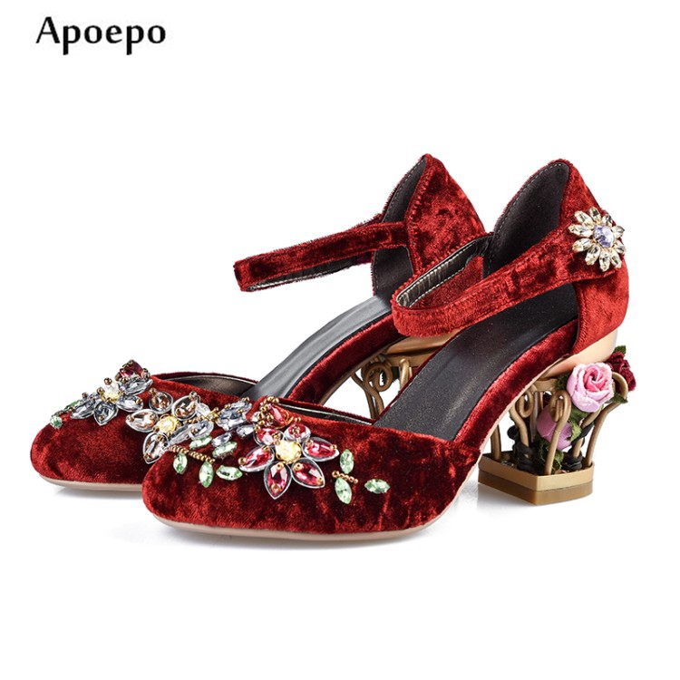 Apoepo Flower Decorations Caged Heel Shoes for Woman Round toe Crystal embellished ankle strap High heel shoe vintage dress shoe vintage style twig shape flower embellished women s earring