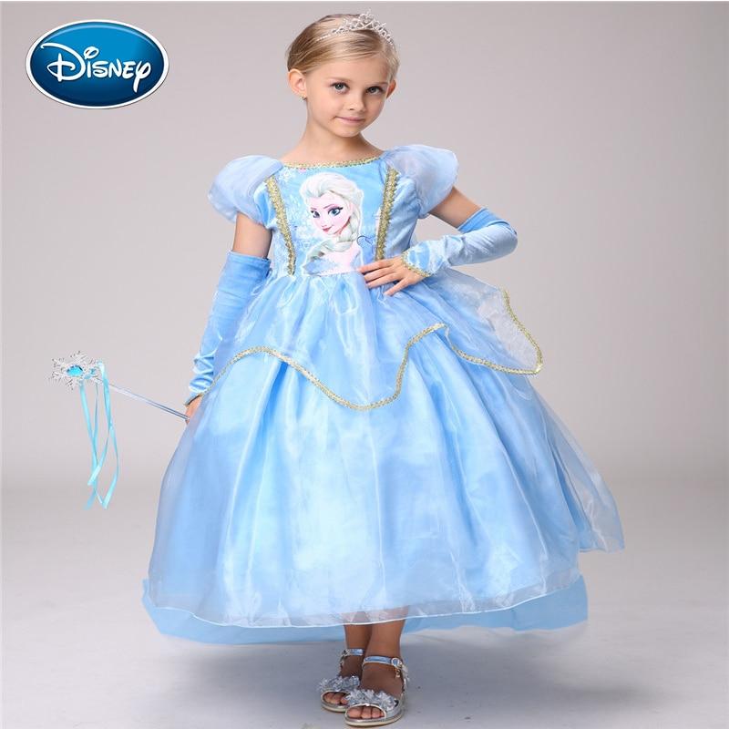 Disney Frozen Princess Dress Girl European and American Frozen Cotton Dress Aisha Dress