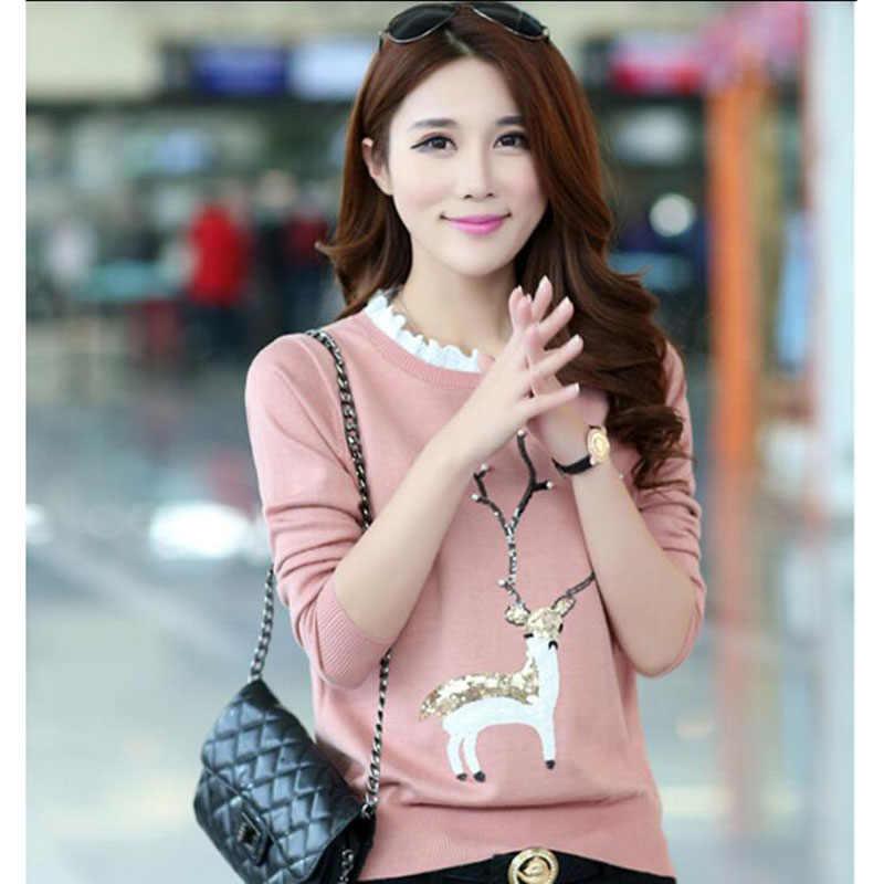 2018 женский новый свитер Женская Корейская версия вязаный материал свитера свитер с рисунком милый свитер для студентов okokxgnz