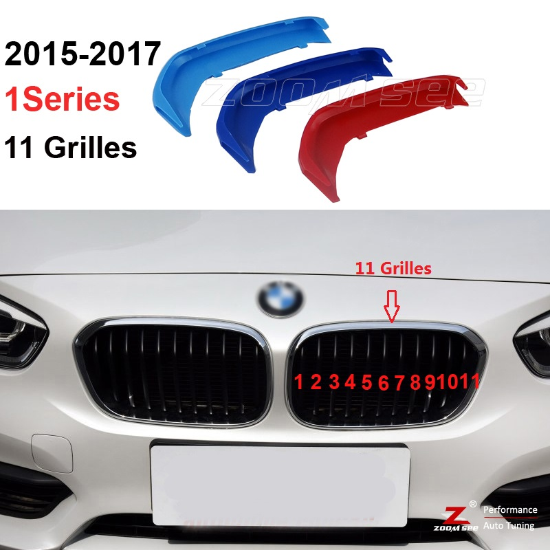 For 2015 to 2017 BMW 1 series 116i 118i 120i 3D M Styling Front Grille Trim motorsport Strips grill Cover Stickers   11 Grilles motorsport manager [pc jewel]