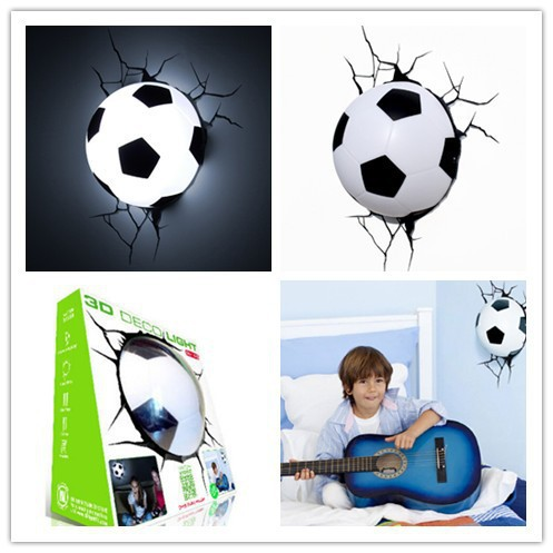 Hot Sell Sports Series 2014 Brazil World Cup Football 3D Wall Lamp Amazing Room Decoration Light Lampada de parede Xmas Gift brazil football fans caxirola cheer horn for 2014 world cup