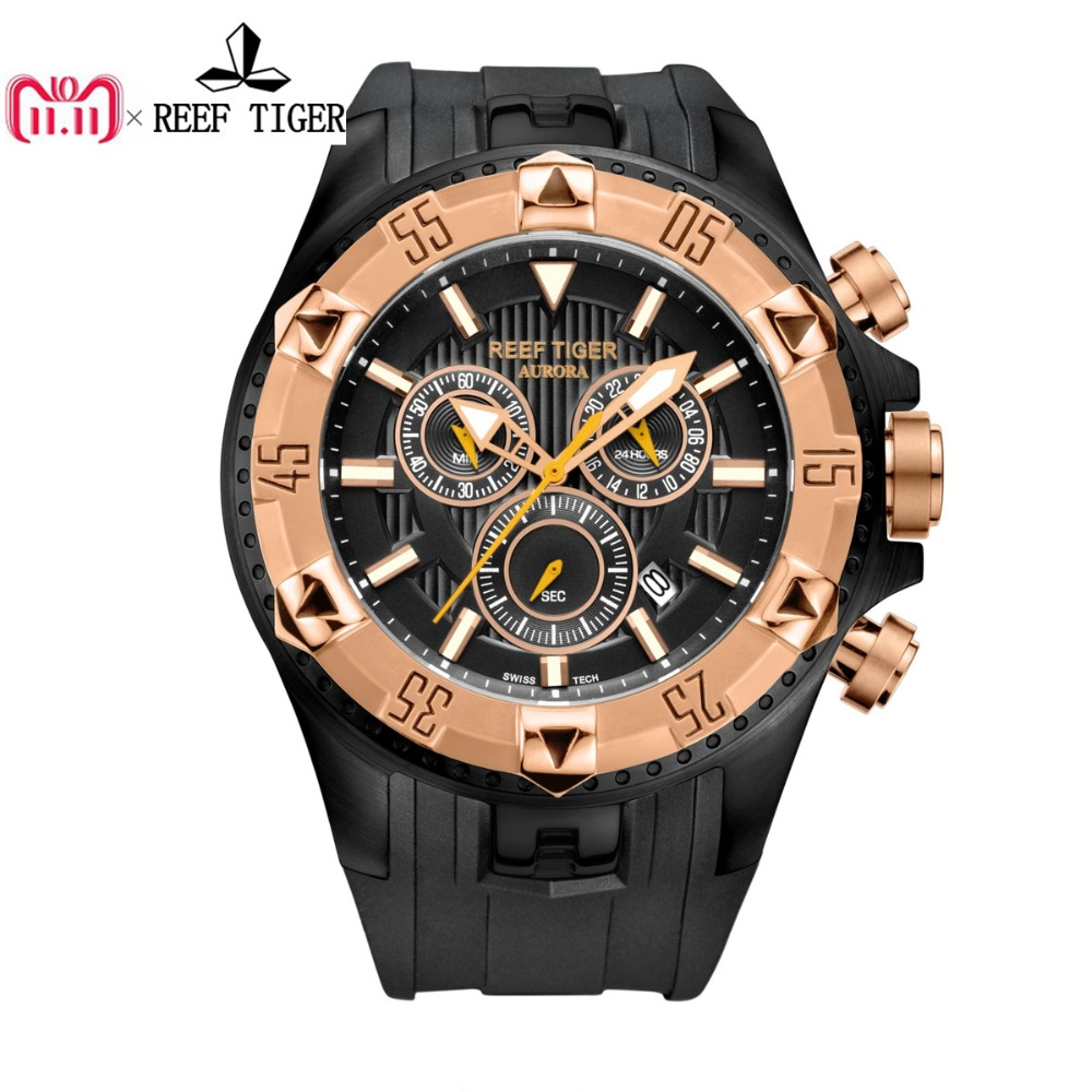 Reef Tiger/RT Men Sports Watches Quartz Watch with Chronograph and Date Big Dial Black Steel Super Luminous Stop Watch RGA303 цена в Москве и Питере