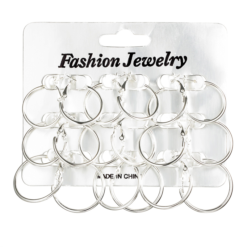 9 Pairs/lot Small Smooth Silver Color Circle Hoop Earring Round Loop Earrings Set For Women Men Jewelry Simple Ear Accessories