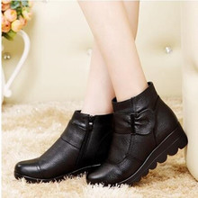 Winter women shoes cotton-padded wedge boots genuine leather ankle boots(China)