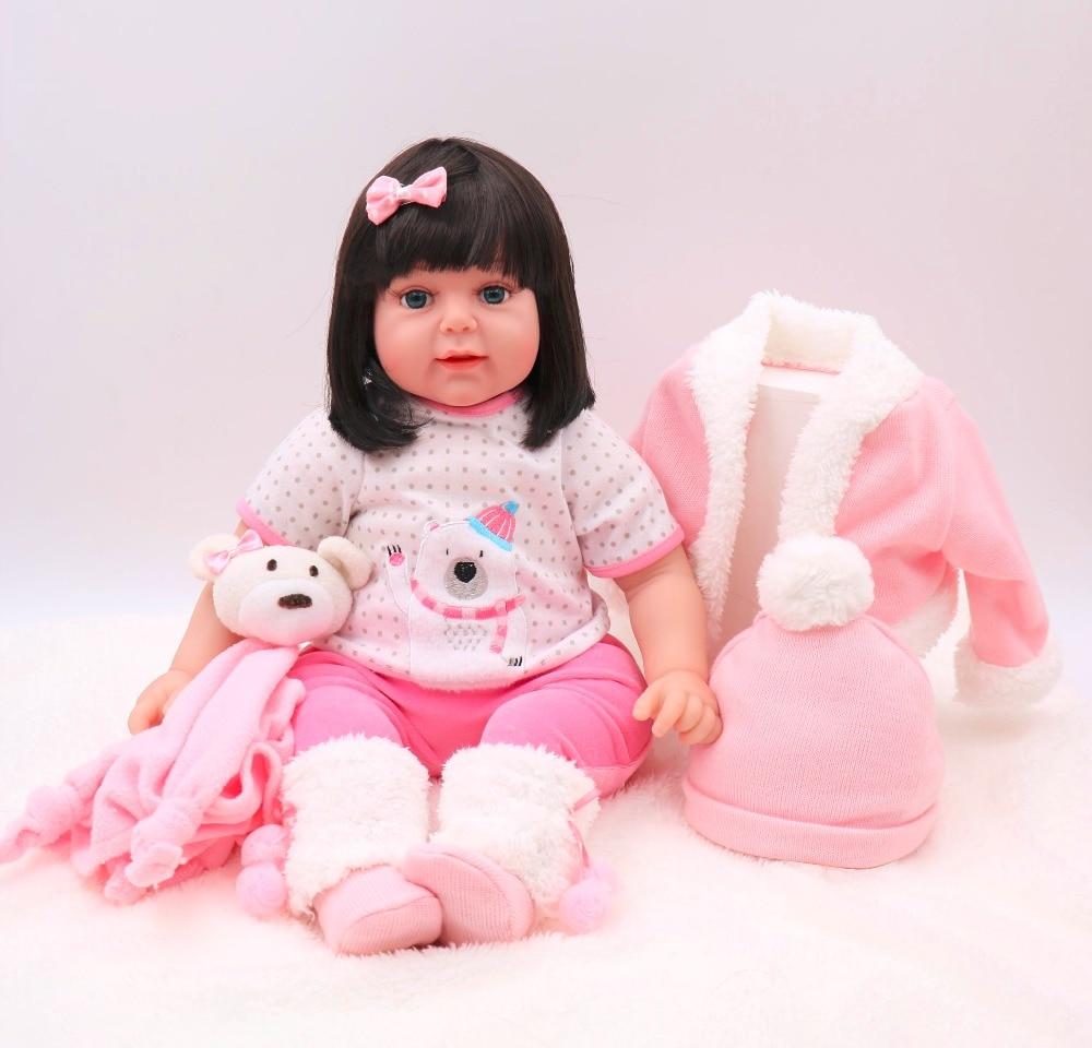61cm Beautiful angel princess bebe reborn soft cloth body 3/4 silicone reborn baby dolls Big blue eyes GIRL dolls toys for child