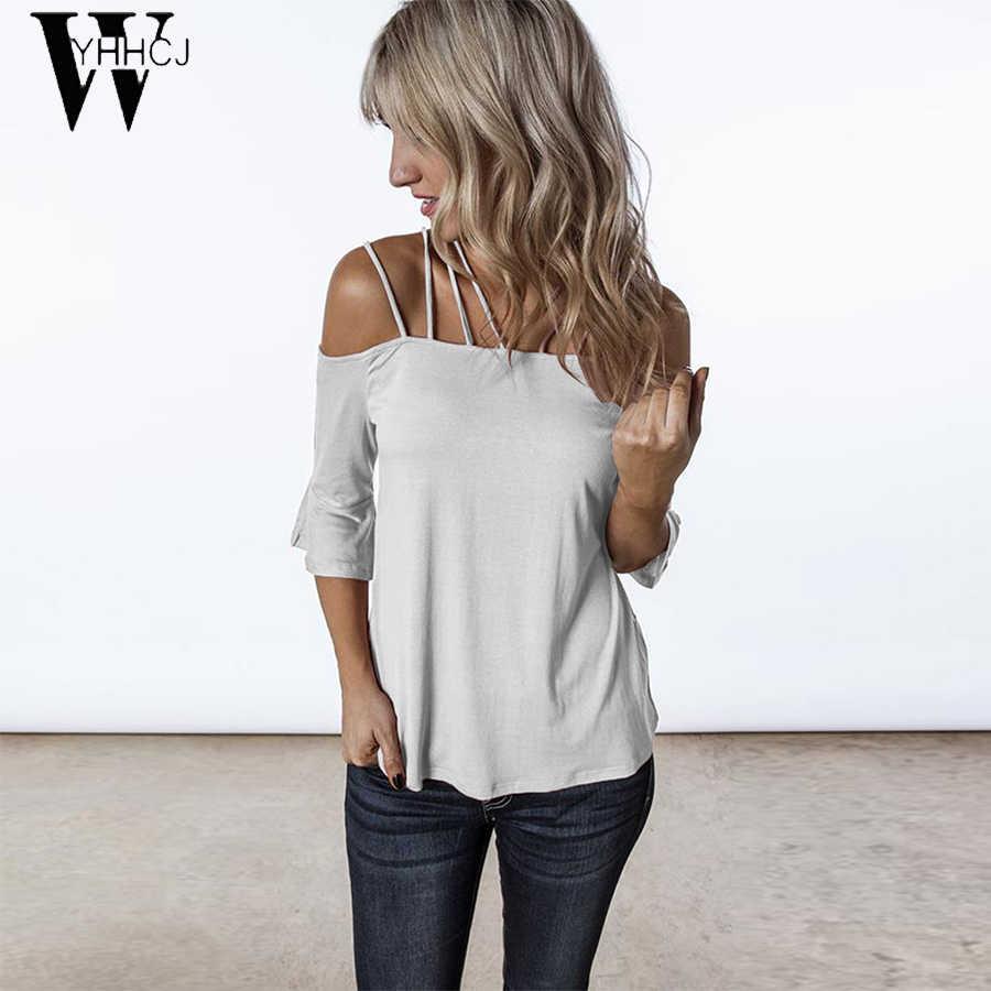 נשים קיץ T חולצות 2019 מקרית חולצה סקסי כבוי כתף חולצות קצר שרוול תחרה עד מוצק סלאש צוואר ליידי Loose חולצות Tees