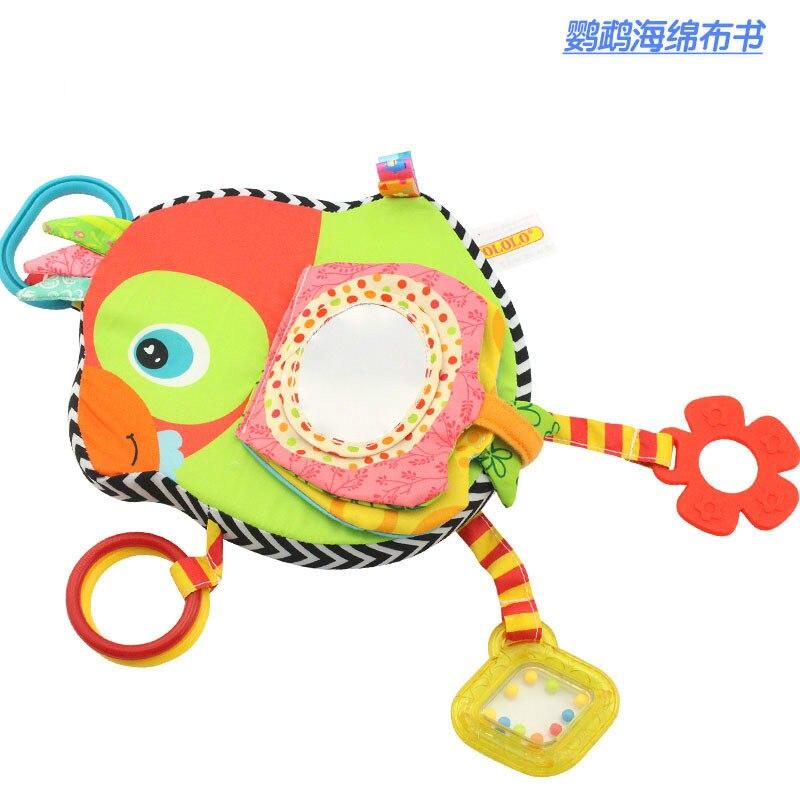 0-3T baby cartoon animal Cloth Books Gutta BB mirror toy for newborn