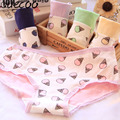 QUECOO 6 pieces / hot Lovely sexy candy - colored ice cream cone sweet woman underwear cotton Women 's underwear