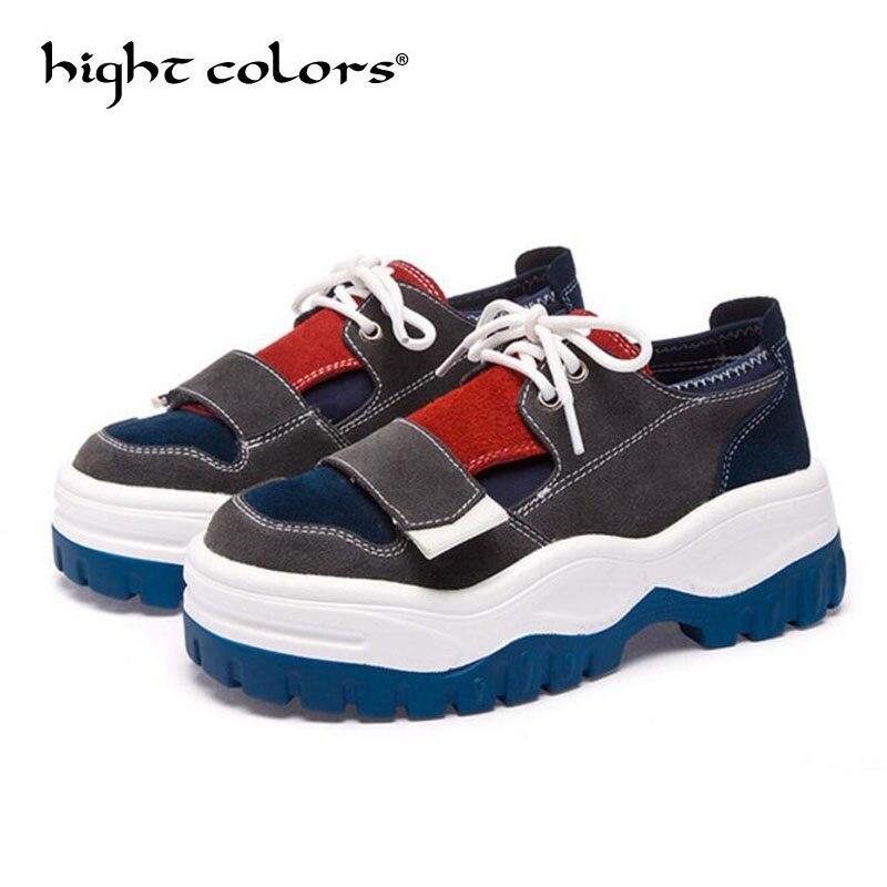 a67ae36324a34 Mate Caminar Tenis green Cuadrados Zapatos Moda Primavera Zapatillas Casual  Para Plataforma 2019 Feminino Encaje Cuero Blue Cabeza Mujer BqHgHA