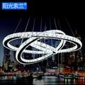 Modern mirror stainless steel Crystal rings LED Pendant Light AC110V-220V for diningroom bedroom living room restaurant study