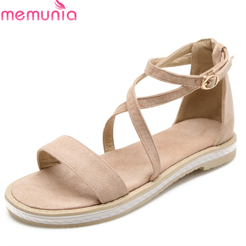 MEMUNIA 2018 new style ladies shoes simple buckle summer shoes fashion casual shoes sweet pink big size 33-43 flat sandals memunia 2018 new arrive women summer sandals sweet bowknot casual shoes simple buckle comfortable square heele shoes woman