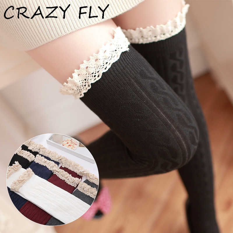 CRAZY FLY 2019 New Girls Ladies Women Thigh Over Knee Long Casual Ladies Thigh High Plain Cotton Overknee Socks Hot Sale