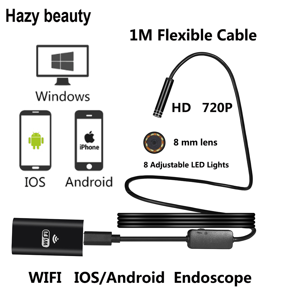 Hazy beauty 8mm Len WIFI Endoscope Camera HD 720P Flexible Snake USB Pipe Inspection Borescope Android Tablet PC Camera hazy beauty usb android endoscope 8mm 5m length endoscope 2m hd inspection snake camera waterproof snake pipe borescope cam