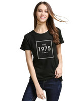 Women Short Sleeve Letter Print T Shirt THE 1975 Cotton Casual Funny For Lady White Black
