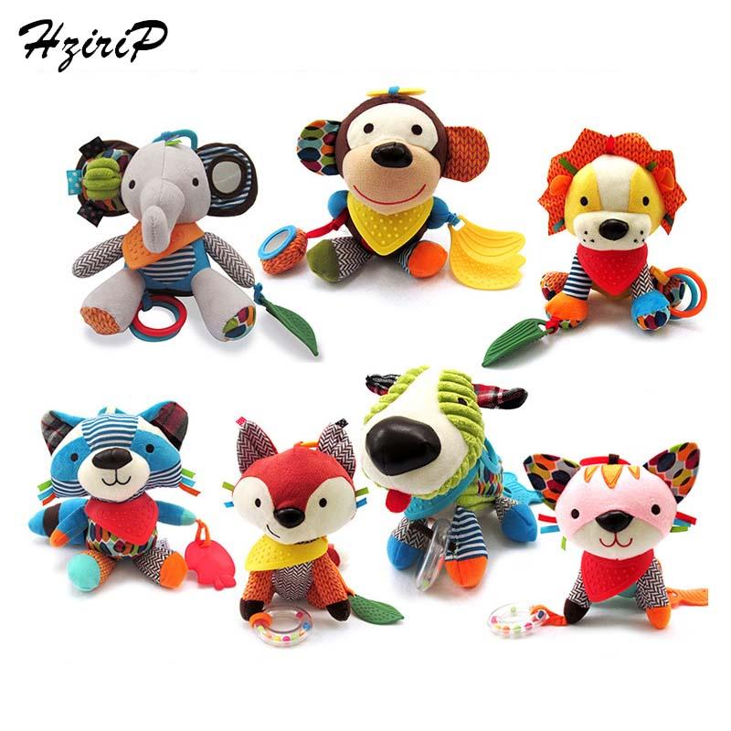 New Infant Rattle Cartoon Animal Models Baby Stroller Rattles Multifunction Doll Plush Toy Lion Elephant Monkey Educational Toys