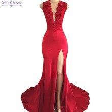 d2e553a89ad Red Mermaid Lace Prom Dresses 2018 Sexy V Neck High Slit Prom Party Dresses  Sleeveless Evening Dress vestido de festa