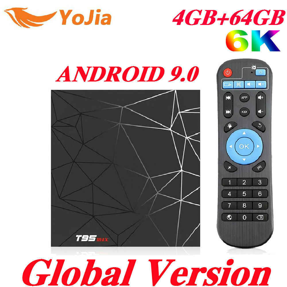 4 ГБ ОЗУ 64 Гб ПЗУ 6K Smart tv BOX Android 9,0 T95 MAX Allwinner H6 четырехъядерный 2,4G Wi-Fi YouTube 16G/32G T95MAX телеприставка