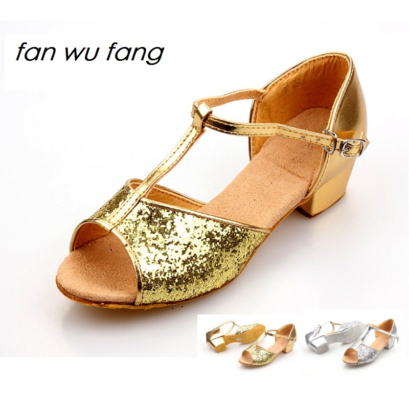 fan wu fang 2 Color Sequins Latin Dance Shoes For Kids Girls Men Children Women Ladies According The CM To Buy image
