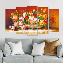 Europe style canvas painting flower modern art prints 5 psc still life wall pictures for parlor hotel restaurant bedroom