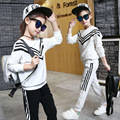 2016 Autumn 100% Cotton Girls Clothes Sets Fashion Solid Color Sports Navy Stripe Children Clothing Sets Long Sleeve+Pants